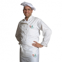 embroidered apron, bonnet and jacket
