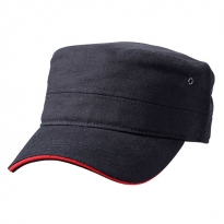 military cap with contrasting sandwich
