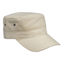 beige military cap with velcro closure