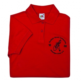 polo with breast embroidery text and motive