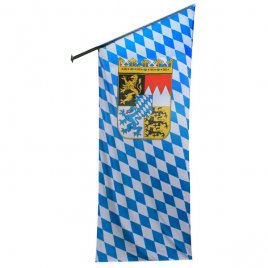 Bavaria flag with rhombs and crest as oblique flag