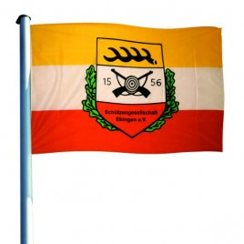 hoisting flag with club emblem