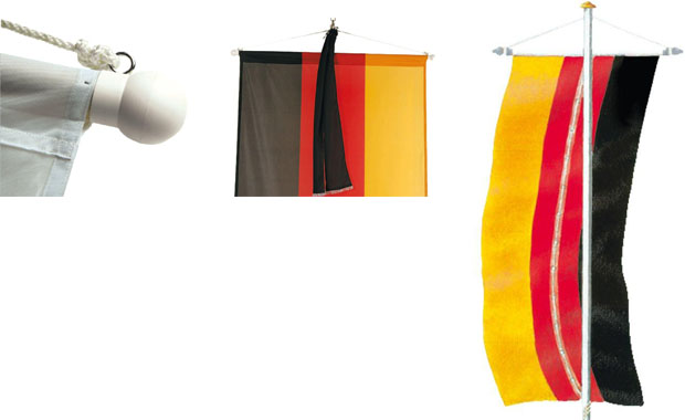 Accessories for bannerflags: wooden crossbar with hanging device, security ringband and mourning banner