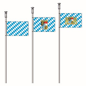 Execution hoisting flag in landscape format, pole side with plastic springhooks