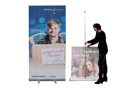 bedruckte Roll-Up Display-Systeme