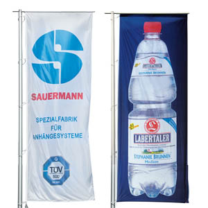 printed hoisting flags in oblong format with your logo / motive