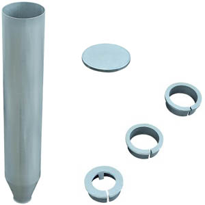 Ground tube made of aluminium with centering rings and ground tube cover