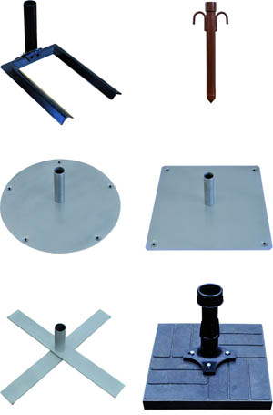 Various accessory parts for mobile telescopic poles