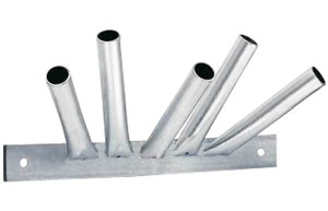Fivefold flagpole holder staggered made of steel, silver colored