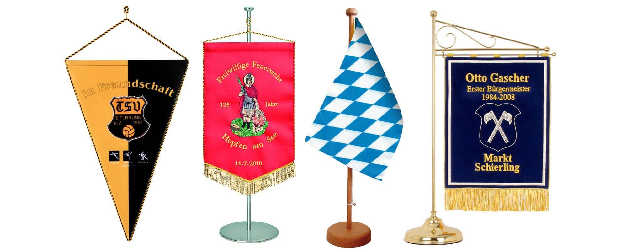 Table banners and pennants in different executions