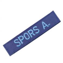 textile name tag in blue with velcro backside