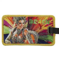 baggage tag with embroidered background and printed-on motive