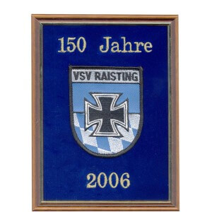 Memorial gift on velvet with embroidered club emblem and wooden frame