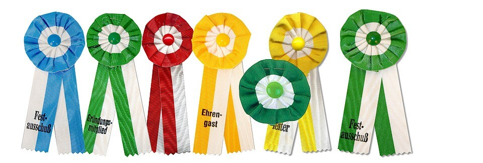 Ladies' and gentlemen's rosettes with our without imprint, in different colors
