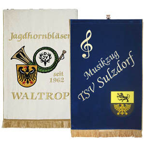 Embroidered and printed music stand banners for music clubs
