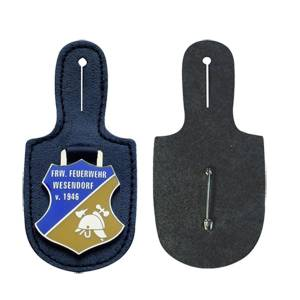 Leather fob for metal badges