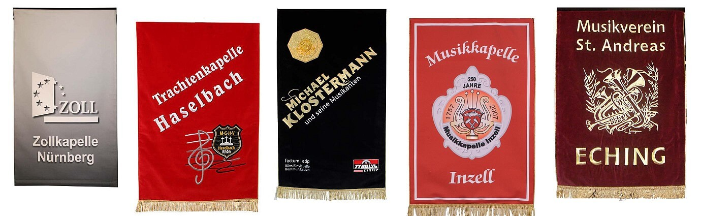 Music stand banners in various colors and sizes