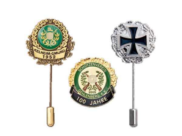 Metal badges and honorary pins