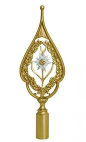 Flag finial with edelweiss flower with white blossom and gold stems