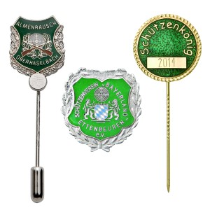 Badges made of metal or fabric for shooting clubs