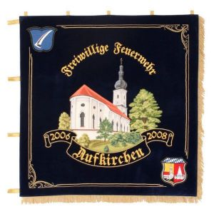 Gorgeously embroidered church in a landscape on the firebrigade standard of Aufkirchen