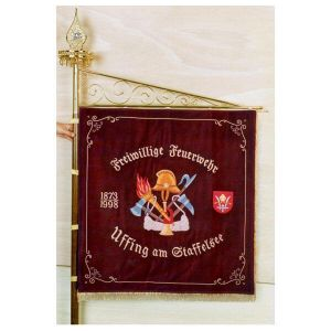 Historical fire brigade tools with crest and foundation and consecration years