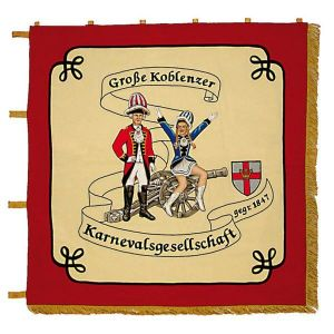 Standard of the carneval association with uniformed pair and cannon