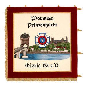 prächtig gestickte Ortsansicht von Worms mit Vereinslogo auf der Standarte der Prinzengarde