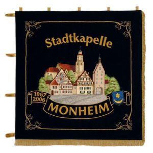 Naturally embroidered homeside of the standard of a town orchestra