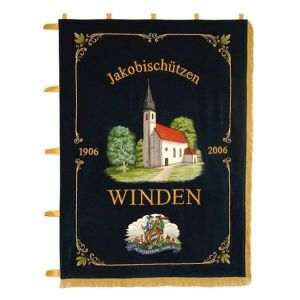 Town motive with district crest on the homeside of the shooting standard of Winden
