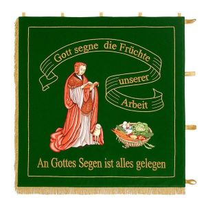 Standard of a fruit and gardening club with colorfully embroidered center motive
