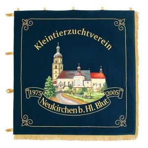 Standard of the small animals breeders' club with nicely embroidered view of the town church