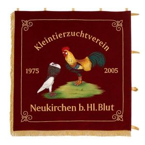 Club side of the standard of the small animals breeders' club with embroidered animals true to nature