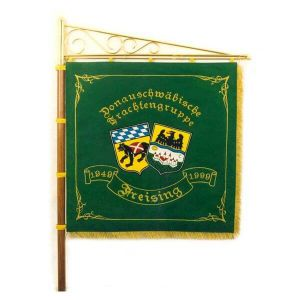 Club side of the standard of the costume group with two town crests