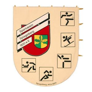 Crest-shaped printed sports club standard with pictograms