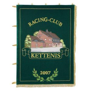 Home side of the racing clubs on embroidered standard in oblong format