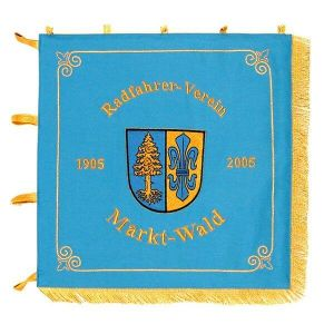 Standard of the cyclers' club with municipality crest and writing in gold metallic