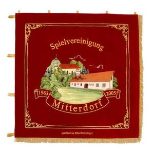 Elaborately embroidered town view with scroll on the standard of the players'coalition