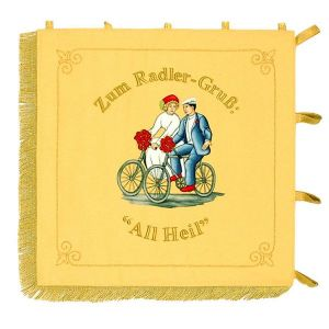 Embroidered cycling couple on the standard of a cyclist club