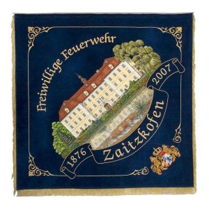 Firebrigade flag with old Bavarian lions' crest as corner ornament