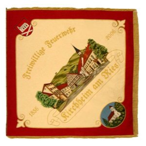 Firebrigade flag with elaborate town view