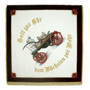 A historical firebrigade vehicle with the slogan used most often