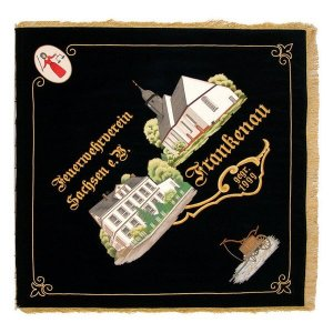 Two representative buildings on the firebrigade club flag of Sachsen
