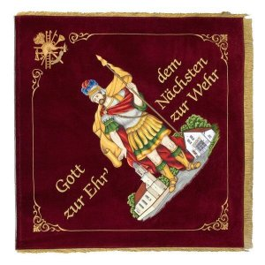 Saint Florian on the home side of the firebrigade flag with church and fire station
