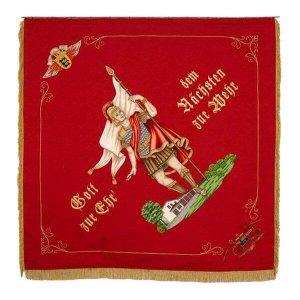Saint Florian on a firebrigade flag of Baden-Württemberg