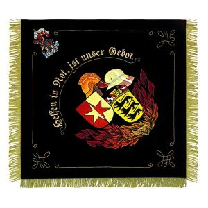 Embroidered motive in high quality with flames and helmet and Saint Florian in a corner