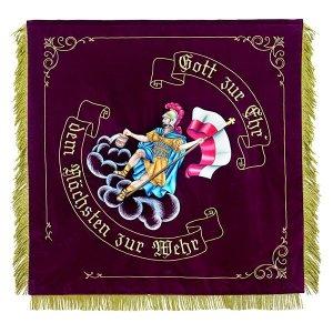Saint Florian on a cloud with bucket and flag
