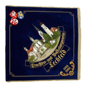 Town view of Lechfeld with crest and hand embroidered writing