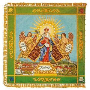 Madonna with angels above town view of Miesbach on traditional flag of the HVTEV