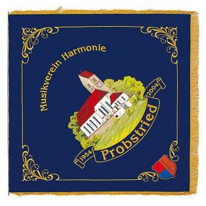 Home side of the music club flag of Probstried with beautiful corner ornaments